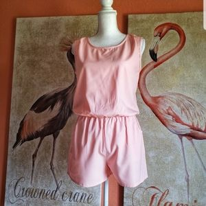 3/$25 Allegra K Sleeveless Open Back Romper Salmon